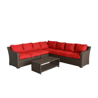 Danby 4 Piece Rattan Sectional Set with Cushions Cushion Color: Ribbed Strawberry
