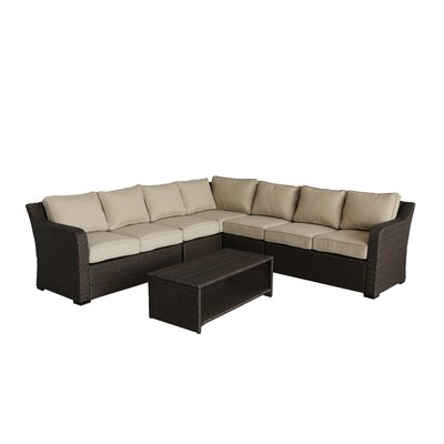 Danby 4 Piece Rattan Sectional Set with Cushions Cushion Color: Beige
