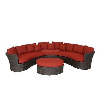 Seagle Curved 4 Piece Sofa Set with Cushion Fabric: Brick