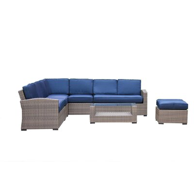 Fitzpatrick 7 Piece Rattan Sectional Set with Cushions