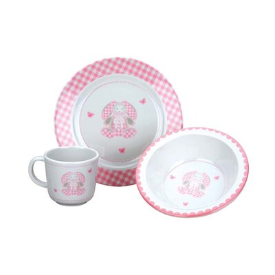 Gingham Bunny Melamine 3-Piece Place Setting 2703