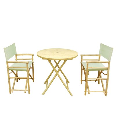 Bamboo 3 Piece Outdoor Dining Set Color: Celadon