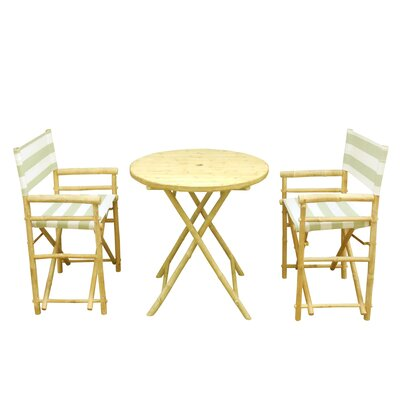 Bamboo 3 Piece Outdoor Dinning Set Color: Celadon