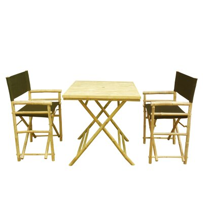 Bamboo 3 Piece Outdoor Dining Set Color: Black