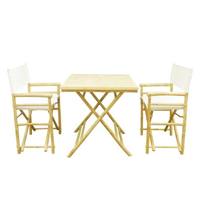 Bamboo 3 Piece Outdoor Dining Set Color: White