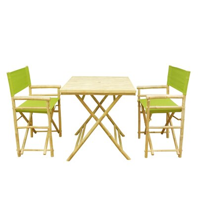 Bamboo 3 Piece Outdoor Dining Set Color: Green