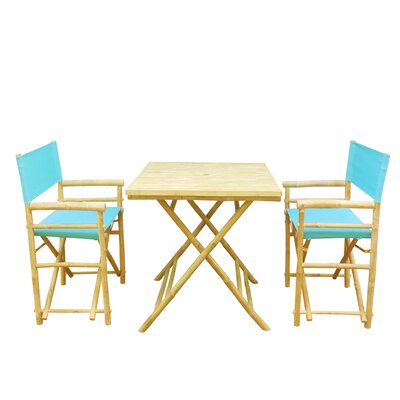 Bamboo 3 Piece Outdoor Dining Set Color: Aqua