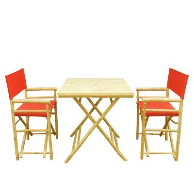 Bamboo 3 Piece Outdoor Dining Set Color: Red