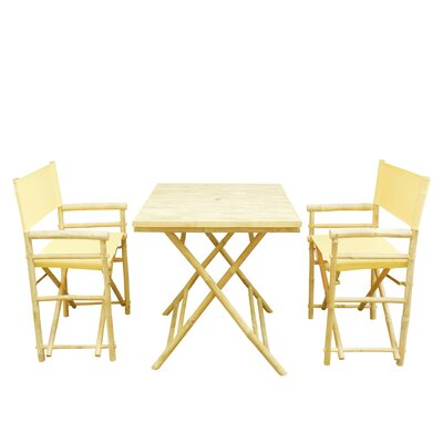 Bamboo 3 Piece Outdoor Dining Set Color: Nude
