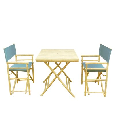 Bay Isle Home Petra Bamboo 3 Piece Bistro Set Color: Navy