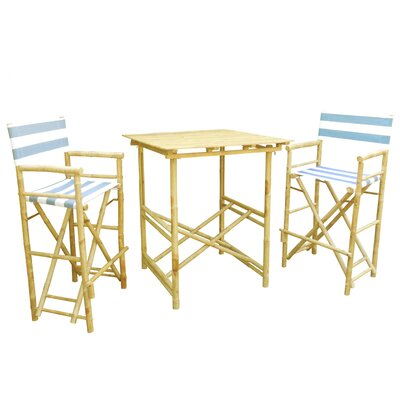Bamboo 3 Piece Bar Set Color: Navy and White