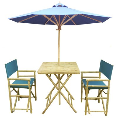 4 Piece Dining Set Fabric: Light Blue