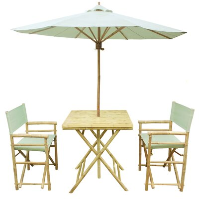 4 Piece Dining Set Fabric: Celadon