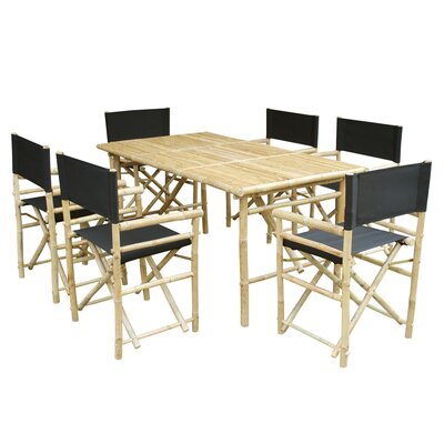 7 Piece Dining Set with Cushion Fabric: Black