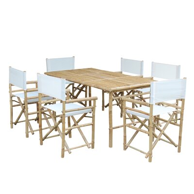 7 Piece Dining Set with Cushion Fabric: White