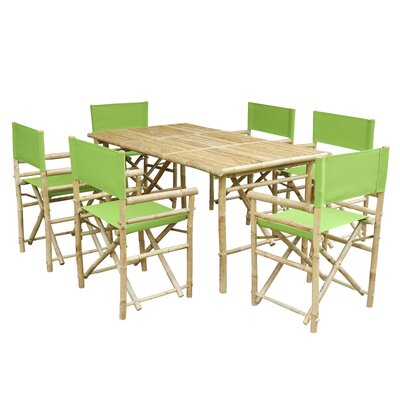 7 Piece Dining Set with Cushion Fabric: Green