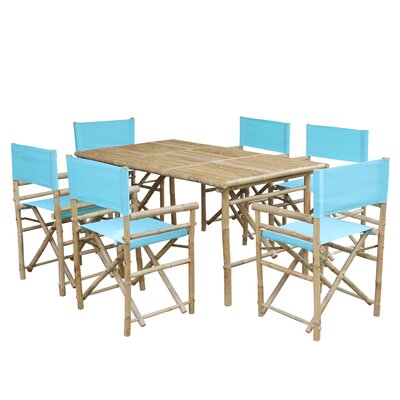 7 Piece Dining Set with Cushion Fabric: Aqua