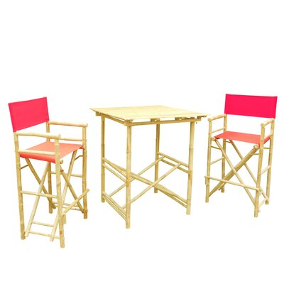 Bamboo 3 Piece Bar Set with Cushion Color: Red
