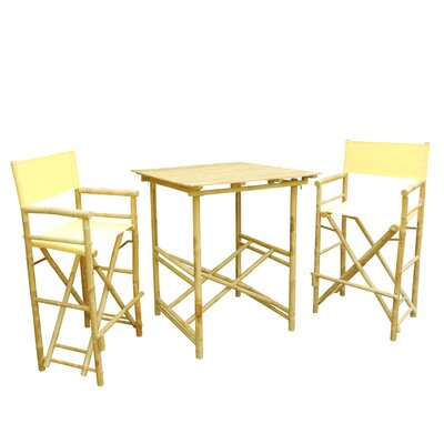 Bamboo 3 Piece Bar Set with Cushion Color: Nude