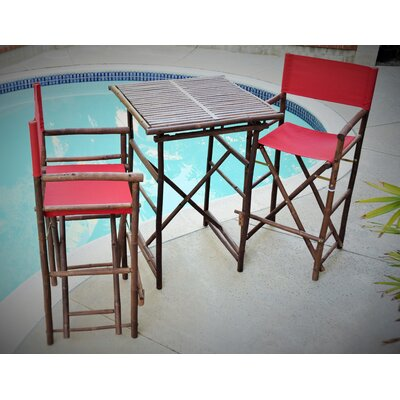 3 Piece Dining Set Fabric: Red