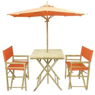 4 Piece Dining Set Fabric: Orange