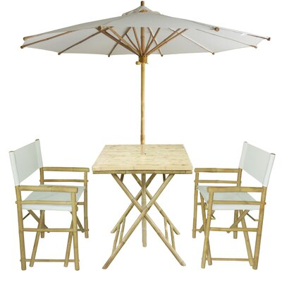 4 Piece Dining Set Fabric: White