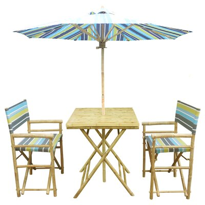 4 Piece Dining Set Fabric: Green