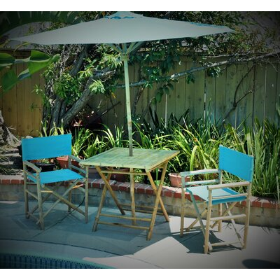 4 Piece Dining Set Fabric: Aqua