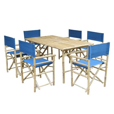7 Piece Dining Set with Cushion Fabric: Blue