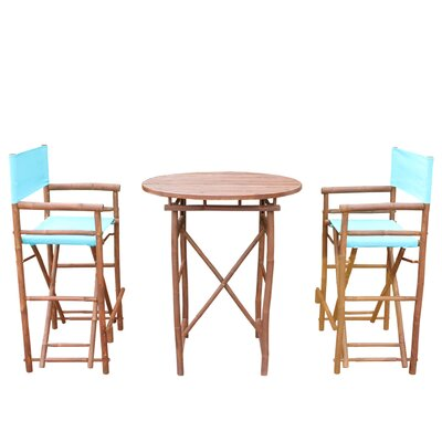 3 Piece Dining Set Fabric: Aqua