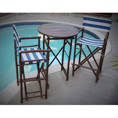 3 Piece Dining Set Fabric: Navy