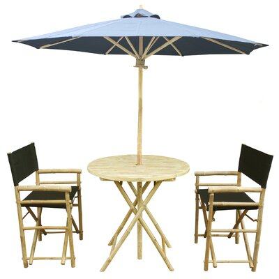 4 Piece Dining Set Fabric: Black