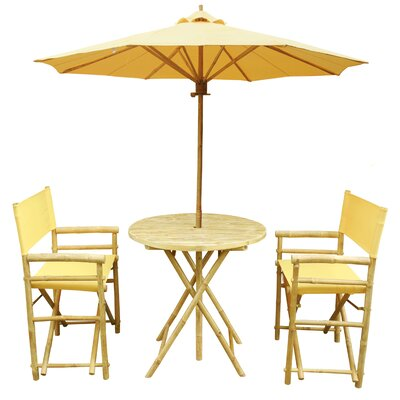 4 Piece Dining Set Fabric: Yellow