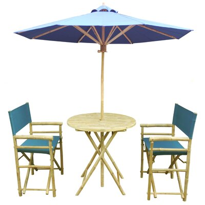 4 Piece Dining Set Fabric: Navy