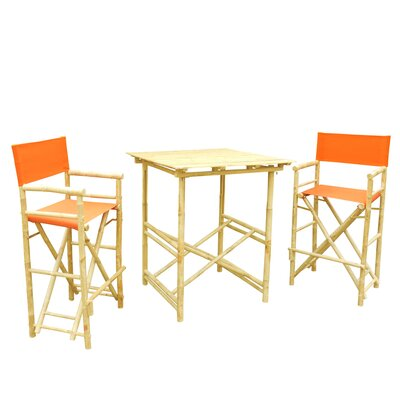 Bamboo 3 Piece Bar Set with Cushion Color: Pottery