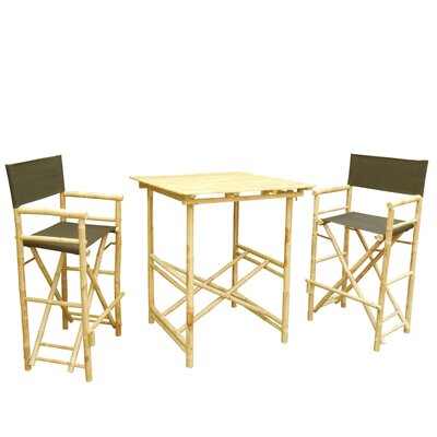 Bamboo 3 Piece Bar Set with Cushion Color: Black
