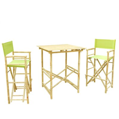 Bamboo 3 Piece Bar Set with Cushion Color: Green