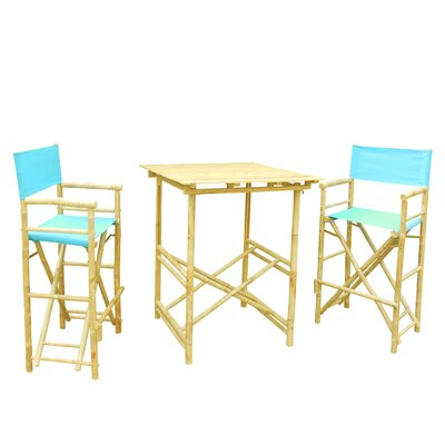 Bamboo 3 Piece Bar Set with Cushion Color: Aqua