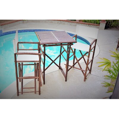 3 Piece Dining Set Fabric: White