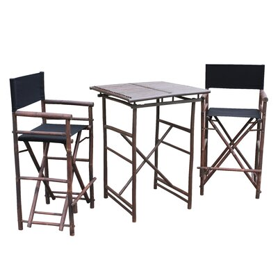 3 Piece Dining Set Fabric: Black