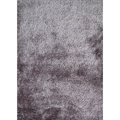 Shaggy Viscose Solid Gray Area Rug Rug Size: 76 x 102