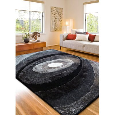 Orme Shaggy Hand-Tufted Gray/Black Area Rug Rug Size: Rectangle 4 x 54