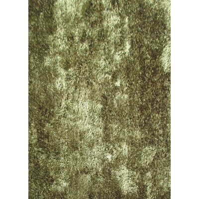 Shaggy Viscose Solid Hunter Green Area Rug Rug Size: 76 x 102
