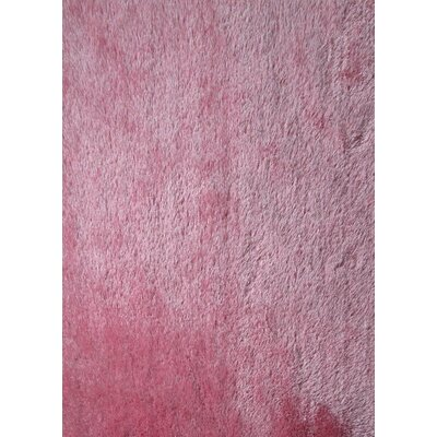 Shaggy Viscose Solid Pink Area Rug Rug Size: 5 x 7