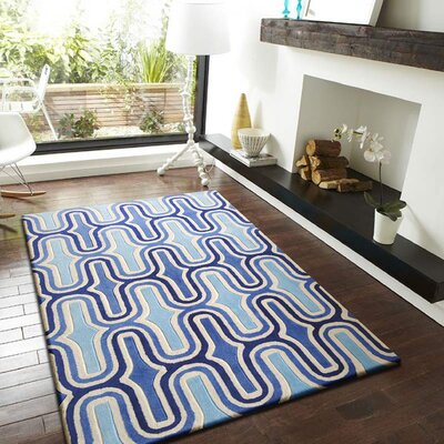 Haynie Hand-Tufted Blue Indoor Area Rug Size: Rectangle 76 x 103
