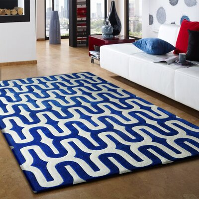Hayter Hand-Tufted Blue/White Indoor Area Rug Size: Rectangle 5 x 7