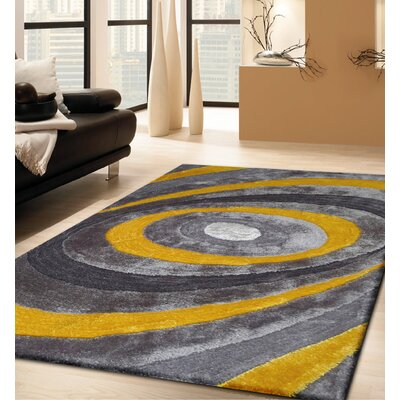 Sheridan Hand-Tufted Gray/Yellow Area Rug Rug Size: Rectangle 5 x 7