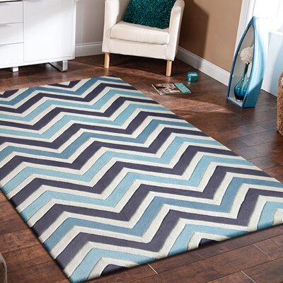 Barnwell Hand Tufted Gray/Blue Indoor Area Rug Size: Rectangle 76 x 103