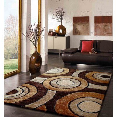 Orrstown Shaggy Hand-Tufted Brown Area Rug Rug Size: Rectangle 76 x 103
