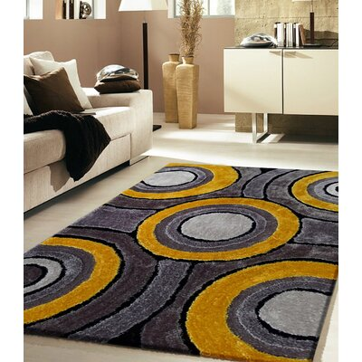 Orrstown Shaggy Hand-Tufted Gray/Yellow Area Rug